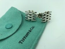 TIFFANY & CO. STERLING SILVER AND 18K GOLD GATELINK CUFF LINKS