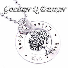 Stainless Steel Personalised Any Name Family Tree Necklace Valentine's Gift D200