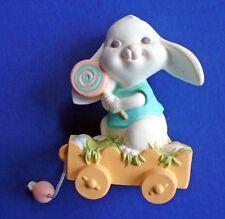 Hallmark Merry Miniatures Easter Vtg Rabbit Pull String Wagon Mini Figurine