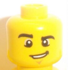 Lego Head Male x 1 Chin Dimple and Lopsided Grin for Minifigure