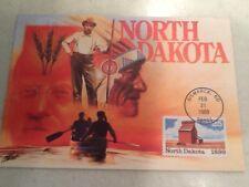 25 Cent Stamp North Dakota 1989 FDC First Day Cover 2/21/89 Bismarck ND Postmark