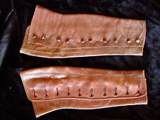 French vintage soft brown leather gaiters 10 button steam punk Edwardian small