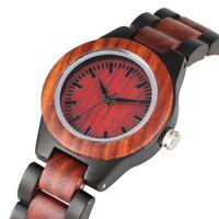 Women Quartz Wooden Watch Zebra Wood Red Sandalwood Handmade Natural Wristwatch