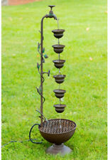 Rustic Metal Garden Fountain Hanging Cups on Spigot 6-Tier Layered Water Feature