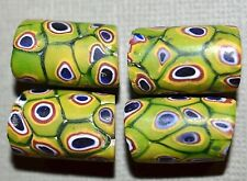Antique Venetian Green Millefiori Snakeskin Murrine Cane Beads, African Trade
