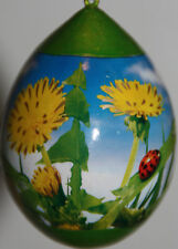 New listing 2 pysanky gourd Easter eggs, garden or Christmas ornaments with ladybugs