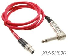 """3ft Mini XLR 4-Pin TA4F F to Right-Angle 1/4"""" TS/M Guitar Cable for Shure Sys."""