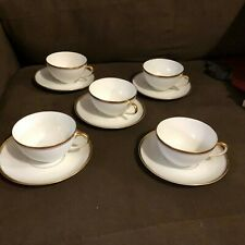 VTG THOMAS BAVARIA 599  White with GOLD BAND & Verge cups & saucers set of 5