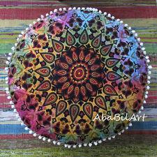 "22"" Large Indian Star Mandala Ottoman Pouf Cover Throw"