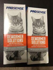 Pro-Sense Cat Dewormer Solutions Treatment & Roundworm Control 4 fl Oz Lot Of 2
