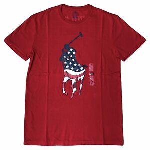 Polo Ralph Lauren Men's USA Logo Crewneck T-Shirt Red NWT Free Shipping