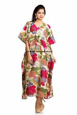 Indian Floral Print Regular Size Women Cotton Kaftan Long Beach Cover Up Dress