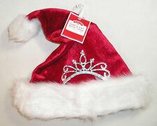 Christmas Hat, Red & White Santa Hat with Tiara,  Princess Santa Hat, One Size