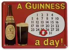 GUINNESS CALENDAR Small Vintage Metal Tin Pub Sign