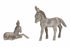 2 x small silver plated donkeys