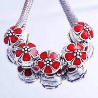 5pcs Red Flower Silver Charm Clip Stopper Beads Fit DIY European Bracelet