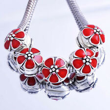 5pcs Red Flower Silver Charm Clip Stopper Beads Fit DIY European Bracelet
