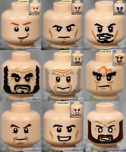 LEGO - 9x Male Heads Lot - Light Flesh Faces Black Brown Beard Stubble Smile