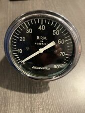 Vintage 8000 RPM Tachometer Gauge SCTA Hot Rod Dash Panel TROG Stewart Warner