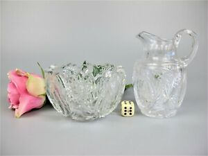 Superb antique hand cut crystal glass Milk Jug / Creamer & Sugar Bowl c1900-1910