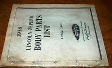 1938 38 Lincoln Zephyr Body Parts Catalog Manual