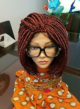 """Gorgeous Short Bod Box Braided  WIG W baby Hair Color # Burgundy&1 10"""" to 14"""""""