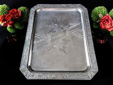 Antique Quadruple Silver Plate Aesthetic Serving Tray Salver Birds Peacocks 1800