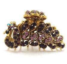 Woman metal hair claws clip purple rhinestones crystal peacock bridal hair clip