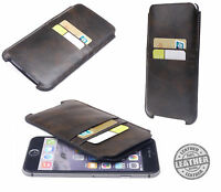 """Genuine Real Leather Luxury Vintage Brown Pouch Case For Apple Iphone 6 6S 4.7"""""""