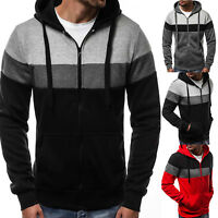 Mens Zip Down Sports Hoodies Jacket Coats Warm Sweatshirt Outwear Jumper Tops US