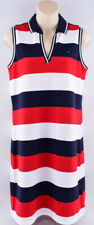 TOMMY HILFIGER Polo Style Sleeveless Dress, White/Red/Navy Striped, size S