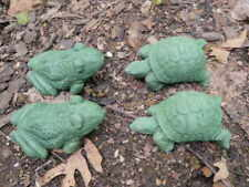 Cement Turtle & Frog Lot of 4 Garden Art Green Concrete Statue Lawn Ornament