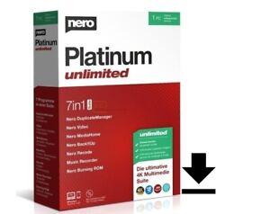 Nero Platinum Unlimited 2021|1 PC/WIN|Dauerlizenz|Code per E-Mail|Download|ESD