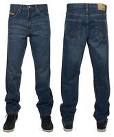 New Men's Boston Dark Blue Stone Wash Vintage Faded Jeans Zip Fly Denim Pants