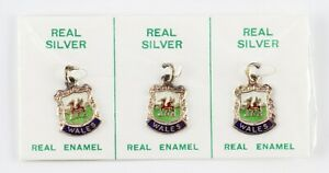 vintage pack of 3 silver and enamel Wales crest charms - ex shop stock