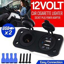 12V Dual USB Port Car Cigarette Lighter Socket Charger Power Adapter Outlet US