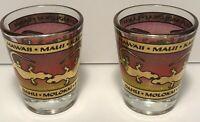 Set of 2 Hawaii Gecko Shot Glasses Gold Red Rim Maui Kauai Oahu Molokai Lanai