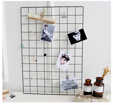 BLACK Multi-Function Metal Mesh Grid Panel Decor Room DIY Photo Wall Art Display
