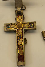 ANTIQUE RELIQUARY CRUCIFIX SAINTS RELICS JEWELED HOLY CROSS CATHOLIC RELIGIOUS