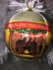 "Vintage Bless our house Christmas ORNAMENT Satin Ball 3"" fire place tree"