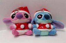Plush Lilo & Stitch With Girl Friend Christmas Hat Dangle Keychain Doll