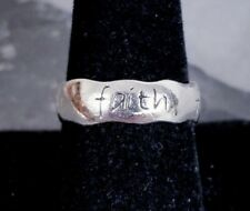 Christian Ring Band sz 8.5 Vintage 925 Sterling Silver Wavy 'Faith'