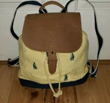 LL Bean Yellow Navy blue Canvas Leather Backpack sailboats nautical   EXCELLENT!