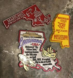 3 State Souvenir Fridge Magnet Louisiana Maryland Mississippi Rubber