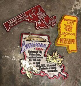 3 State Souvenir Fridge Magnet Louisiana Maryland Mississippi Rubber