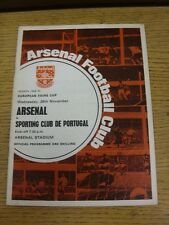26/11/1969 Arsenal v Sporting Lisbon [Inter Cities Fairs Cup] (Creased, Team Cha
