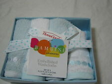 Bambini by Kassatex Blue / White Embroidery Embellished Washcloths Set of 4 NEW