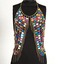 Music Festival Club Party Hand Made Bead Bra Body Chain Halter Top Bikini JEWEL