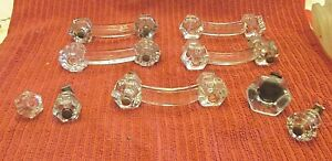 9 Assorted,  Antique Glass Drawer Pulls/Knobs.