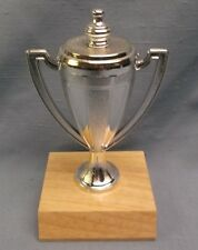 silver cup trophy award natural finish wood base